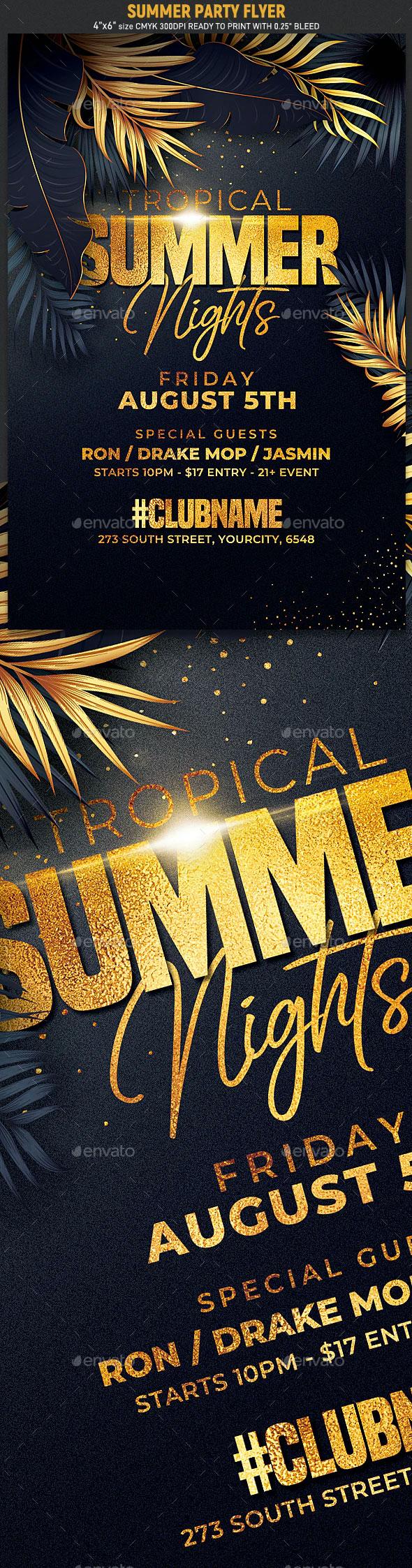 高雅的夏天集会活动海报传单模板(PSD)