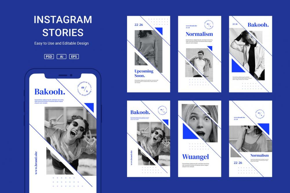 时髦高端精约专业的高品质几何图形Instagram交际媒体banner海报设计模板调集-PSD,AI,EPS,PNG插图