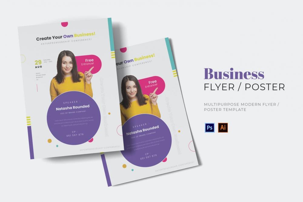 新鲜时髦精约多用途新孟菲斯风格宣传单海报设计模板-AI,EPS,PSD插图