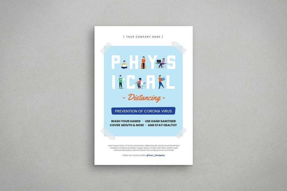 扁平化风格的物理等距宣传单海报设计模板-AI,PSD插图