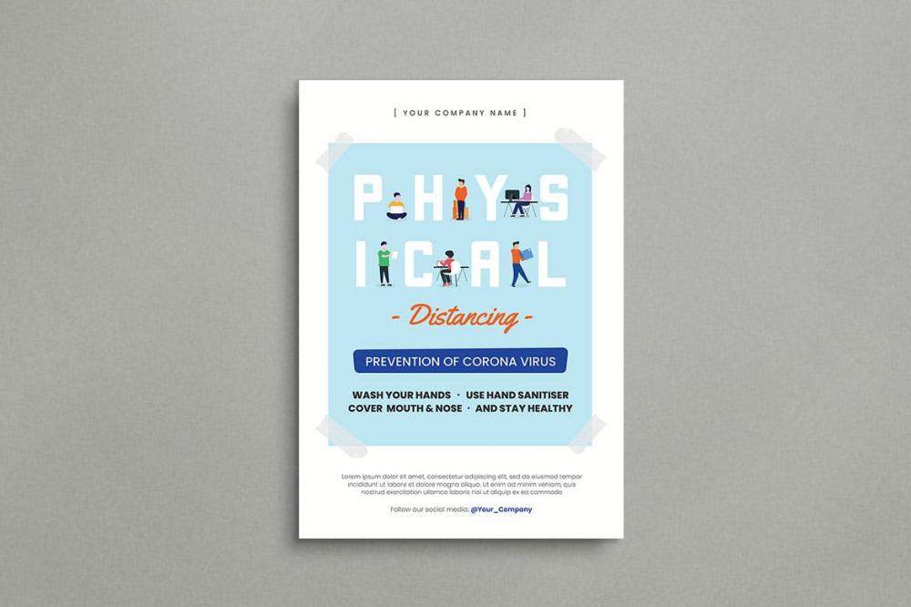 扁平化风格的物理等距宣传单海报设计模板-AI,PSD插图(1)