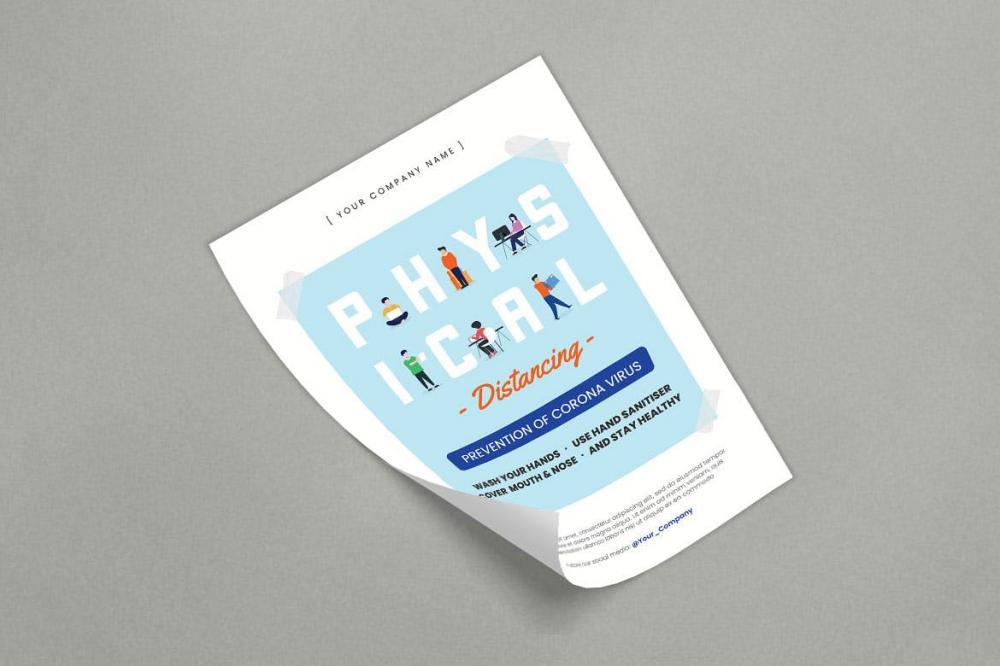 扁平化风格的物理等距宣传单海报设计模板-AI,PSD插图(2)