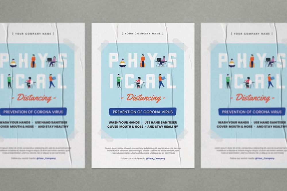 扁平化风格的物理等距宣传单海报设计模板-AI,PSD插图(3)