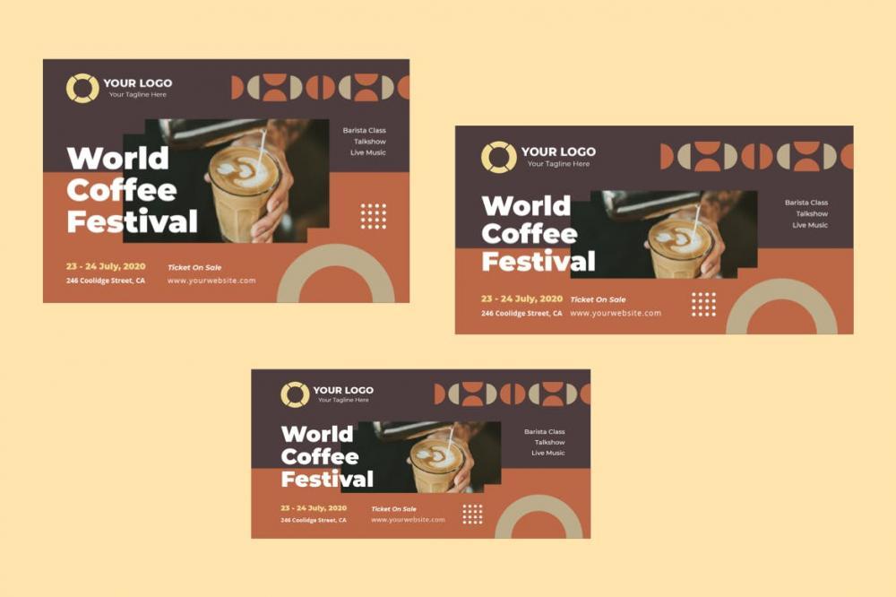时髦精约新鲜高端咖啡馆instagram交际媒体banner海报规划模板-ai&psd插图(2)