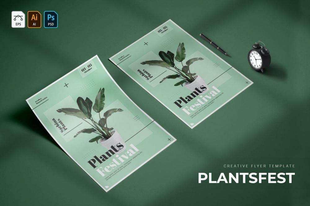 时髦高端精约新鲜时髦宣传单海报设计模板-AI,EPS,PSD插图