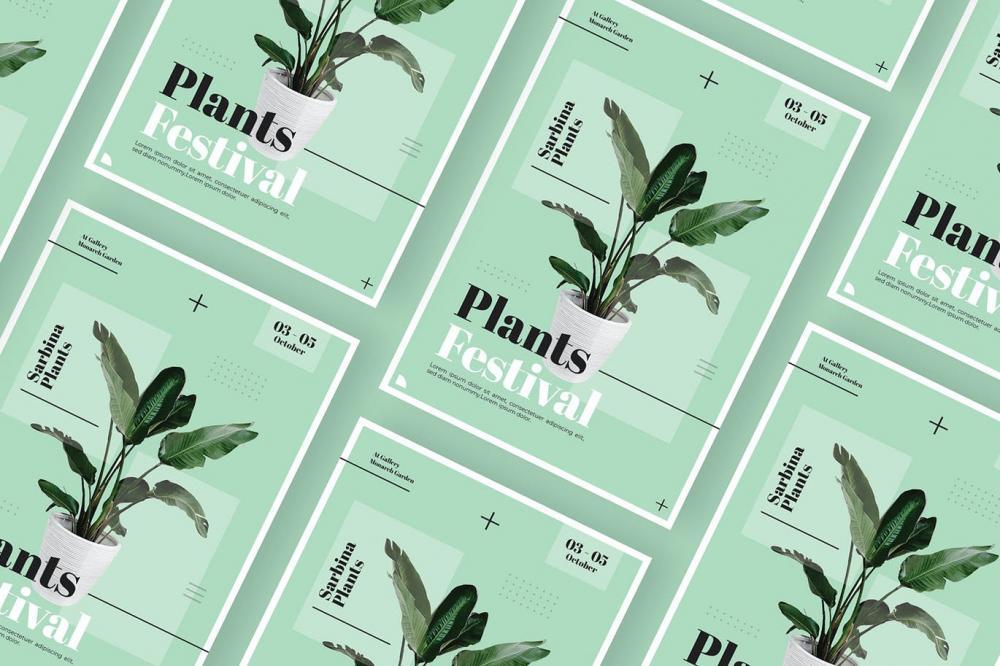 时髦高端精约新鲜时髦宣传单海报设计模板-AI,EPS,PSD插图(2)