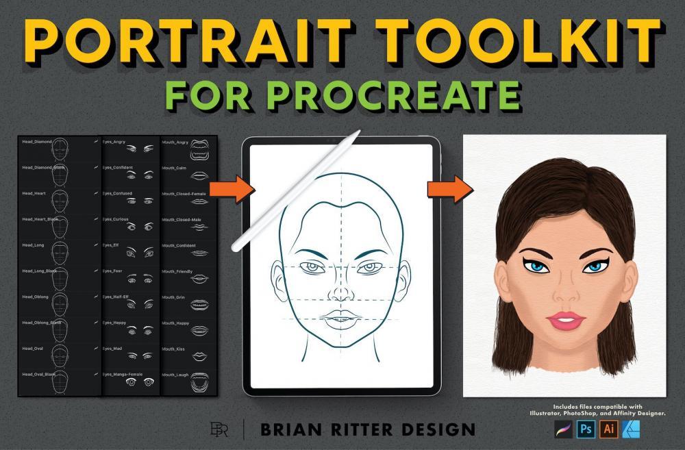 人物头像制作Procreate笔刷东西套件插图