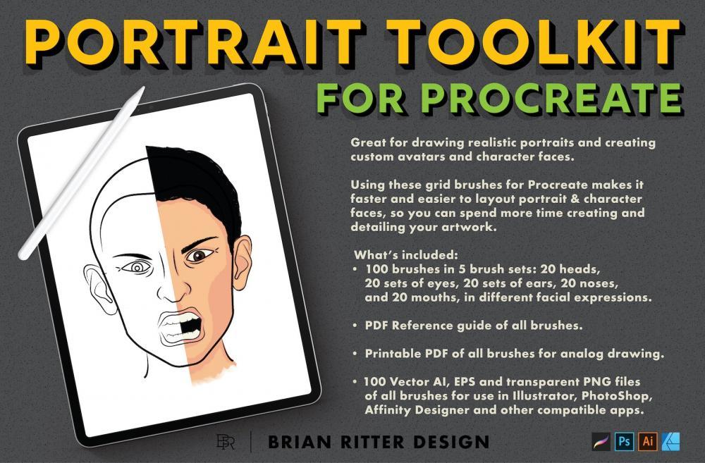 人物头像制作Procreate笔刷东西套件插图1