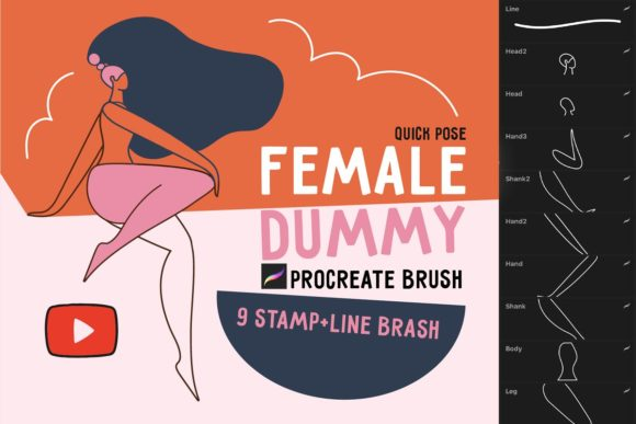 女人人物线条艺术款式Procreate笔刷插图