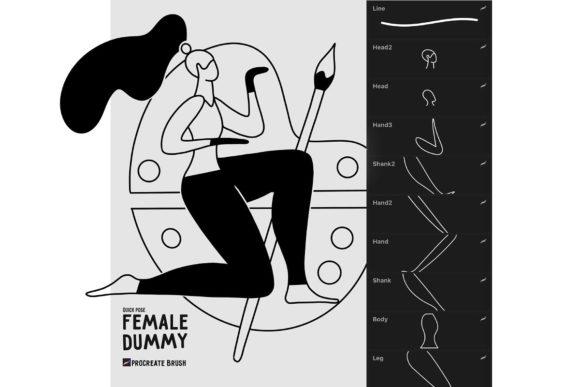 女人人物线条艺术款式Procreate笔刷插图4