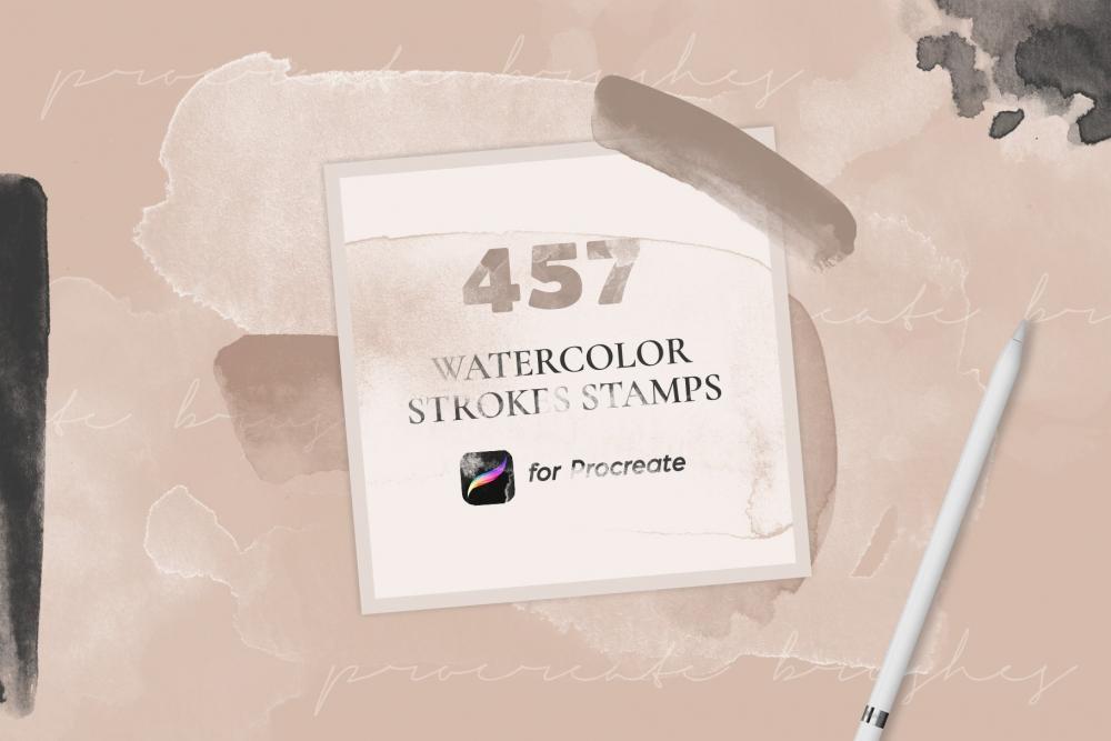 457个水彩形状Procreate笔刷资料下载插图