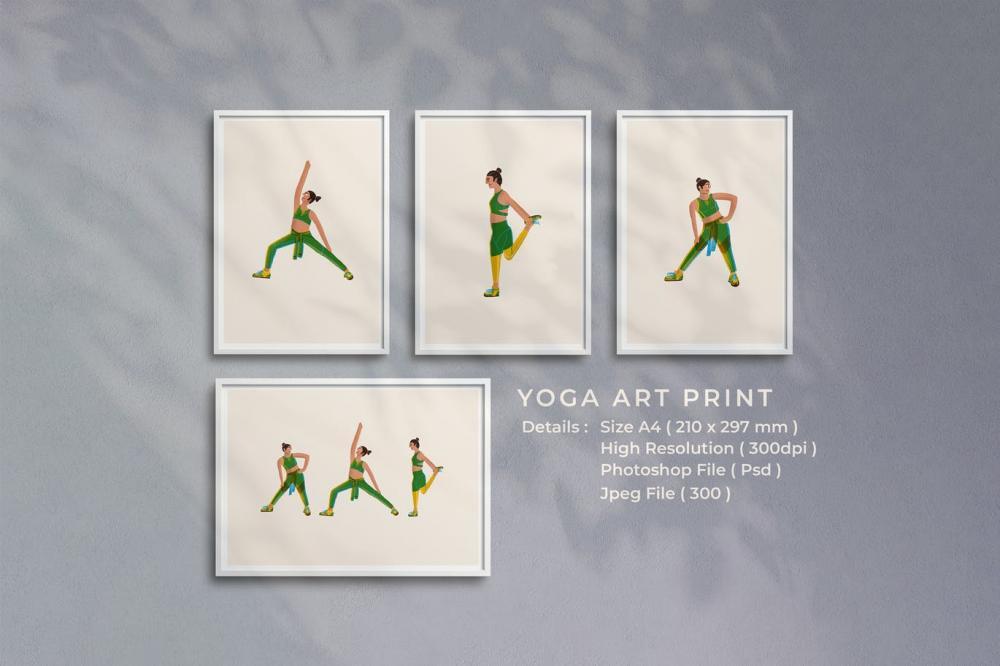 时髦高端精约新鲜瑜伽插画海报设计模板插图