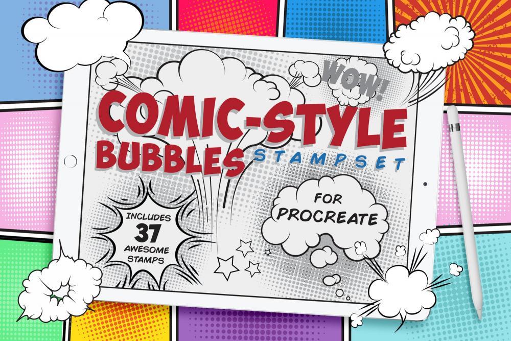 卡通漫画会话泡泡Procreate笔刷插图
