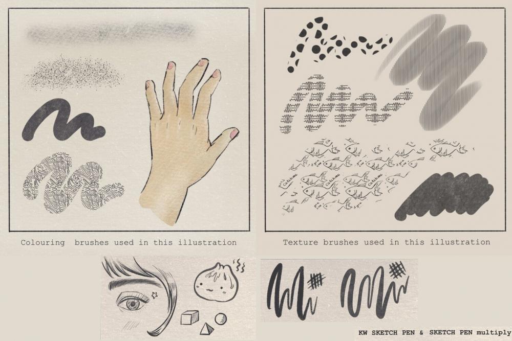 复古水彩Procreate插画笔刷资料插图2