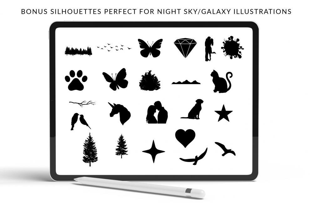 适用于Procreate的夜空梦境星系笔刷套件插图3
