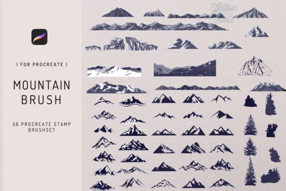 56个山峰Procreate印章笔刷资料插图