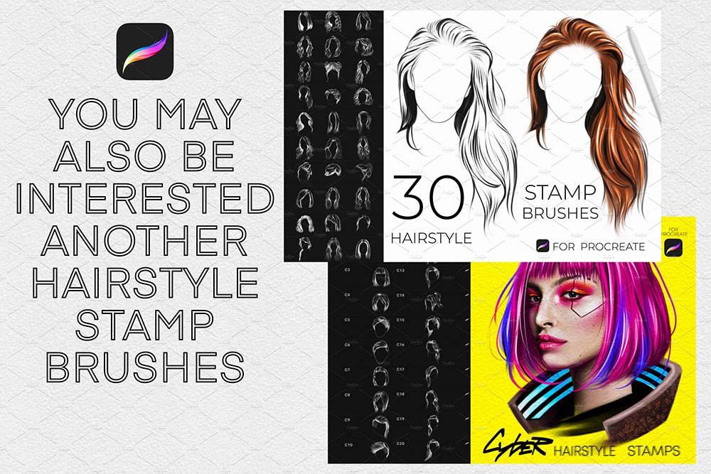 女人发型Procreate印章笔刷 (brushset)插图