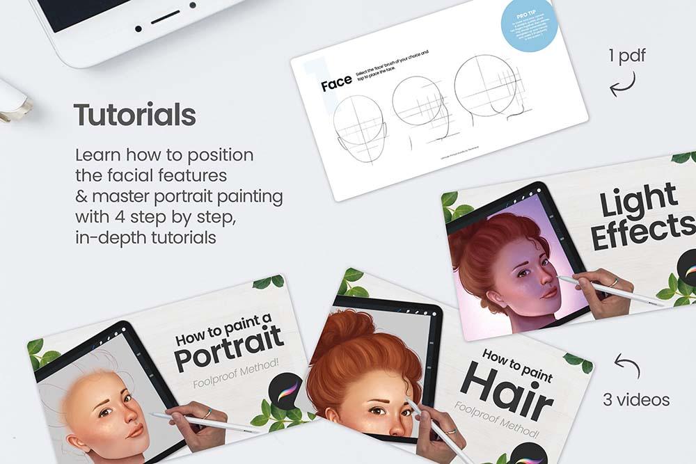 人脸肖像制造Procreate笔刷套装 (brushset)插图1