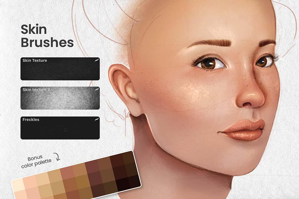 人脸肖像制造Procreate笔刷套装 (brushset)插图3