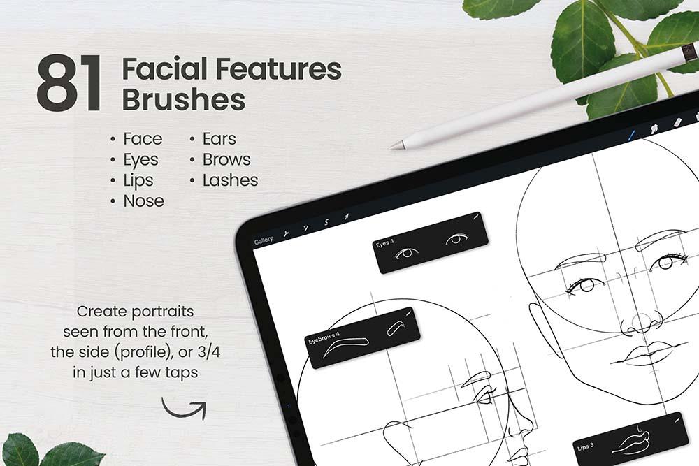 人脸肖像制造Procreate笔刷套装 (brushset)插图6