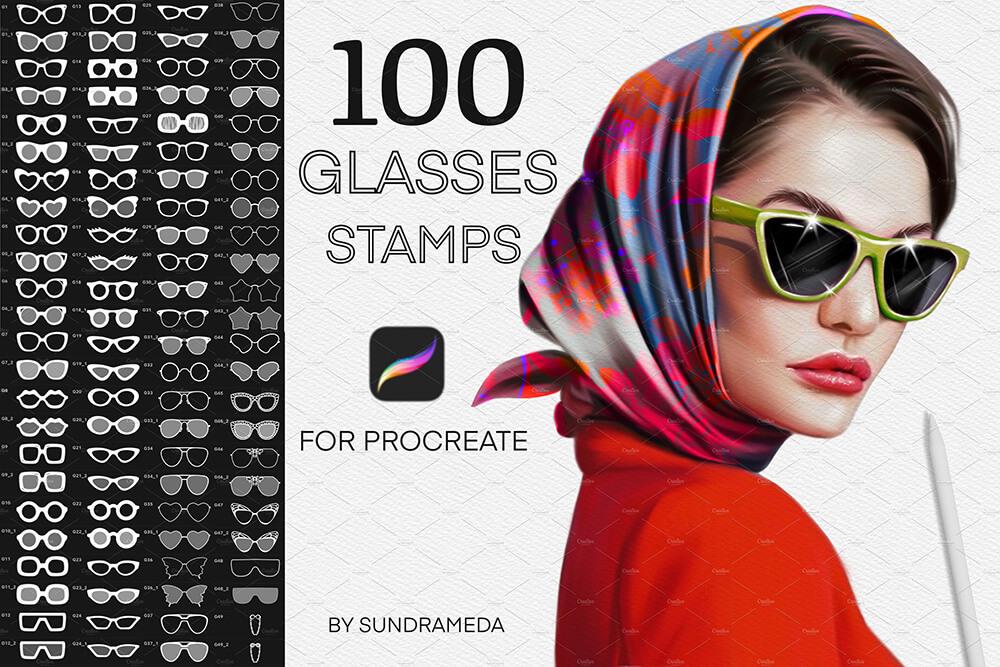 适用于Procreate的眼镜图章笔刷 (brushset)插图