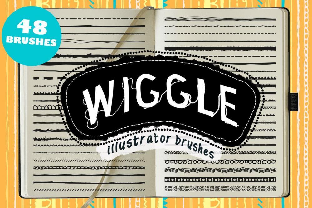 时尚高端逼真质感的Wiggle Illustrator 矢量画笔大集合-AI插图
